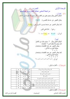 مذكرة رياضيات للصف الثالث الابتدائى 2017