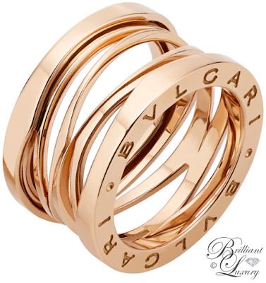 Bvlgari B.zero1 Design Legend by Zaha Hadid 4-Band 18 k rose gold ring #jewelry #brilliantluxury