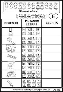 Sequência alfabética alfabetização letra E