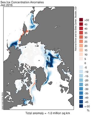 Carte présentant les anomalies d'extension de la banquise dans les régions polaires. L'extension est déficitaire un peu près partout, sauf localement en baie de Baffin et dans l'Ouest de la mer de Béring