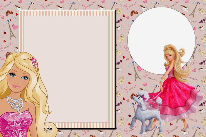 Barbie Magic and Fashion Free Printable Invitations, Labels or Cards.