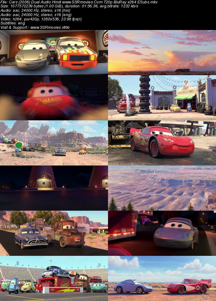 Cars (2006) Dual Audio Hindi 720p BluRay x264 1GB ESubs Movie Download