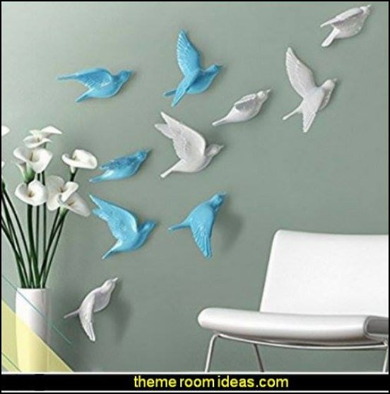 Ceramic Birds  wall decorations - wall art prints - wall stencils - wall murals - wall decals - wall decor - Lighted Letters - wall letters - Storage wall shelves - Marquee Lights - picture frames - mirrors - decorative accents  cardboard wall mounts - Stuffed Animal Trophy Head wall decorations