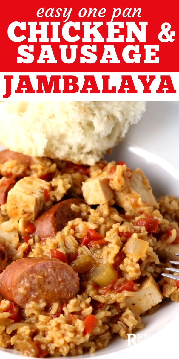 Easy One Pan Chicken and Sausage Jambalaya pin for Pinterest