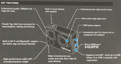 Key features of the GoPro Hero4 Camera
