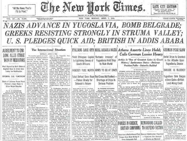 7 April 1941 worldwartwo.filminspector.com NY Times headline
