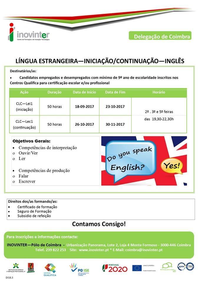 Formação financiada: Língua Estrangeira (Inglês) – Coimbra