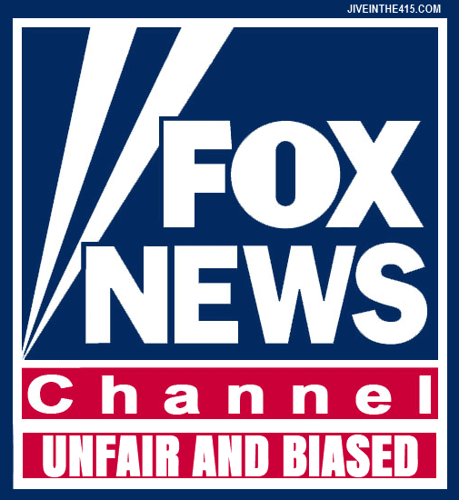 The Fox News Channel logo that includes the text unfair and biased.