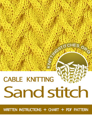Cable Knitting. #howtoknit the Sand cable Stitch. FREE written instructions, Chart, PDF knitting pattern.  #knittingstitches #knitting #knit #cableknitting