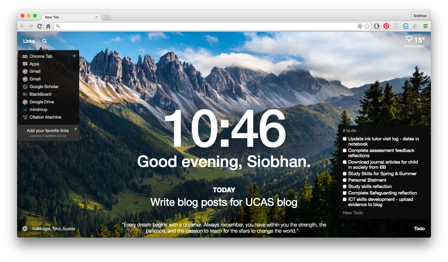 siobhan ucas let me introduce to you to momentum which has been a godsend to me in the past few months momentum is an extension that can be installed onto google chrome