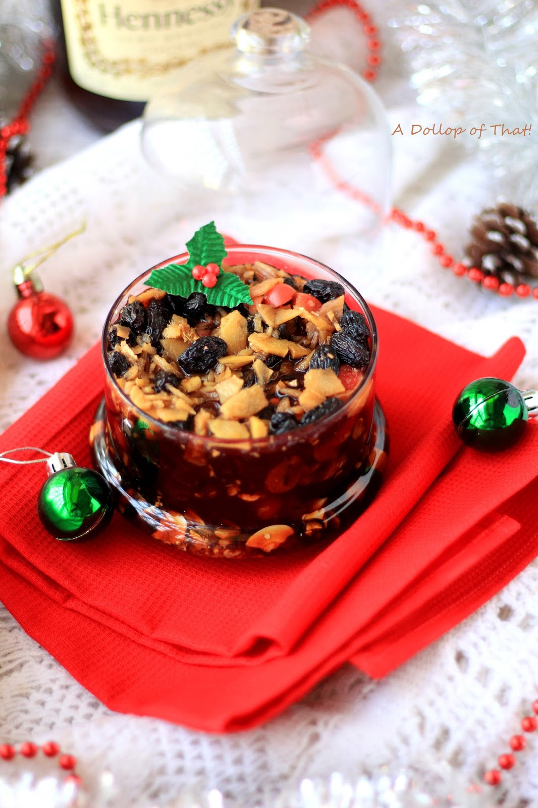 Alcohol preserved fruit soaked christmas cake