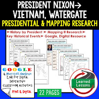President Nixon, American History Research Graphic Organizers, American History Map Activities, American History Digital Interactive Notebook, American History Presidential Research, American History Summer School