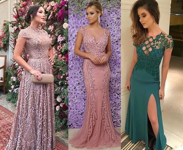 vestido de festa com maga curta