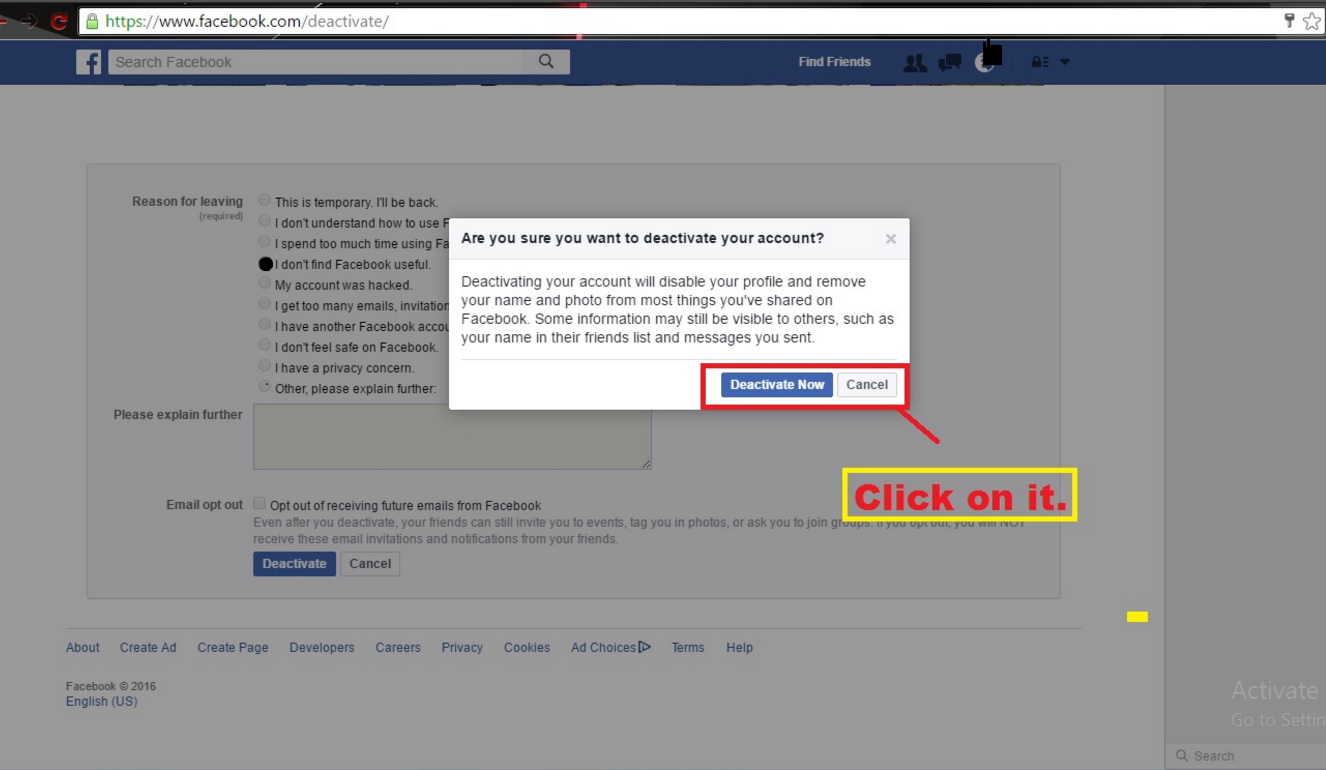 How to delete facebook page or facebook account weapons x tricks then click on deactivate option a small window screen in front on your screensee below click on deactivate now ccuart Image collections