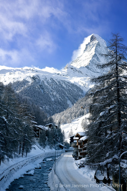 It's a long road to the top of the Matterhorn from this tiny river flowing through Zermatt
