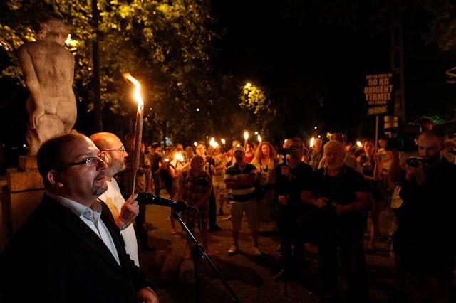 Csárdi Antal, az LMP fővárosi közgyűlési képviselője (b) beszédet mond pártja demonstrációján a Városligetben 2016. július 20-án. A demonstrációt a ligetvédők mellett és a Városliget megvédéséért hirdették meg. Délelőtt határozatképtelenség miatt berekesztették az Országgyűlés rendkívüli ülését, amelyen a városligeti beruházást lehetővé tevő Liget-törvény megsemmisítéséről szóló javaslat került volna napirendre.