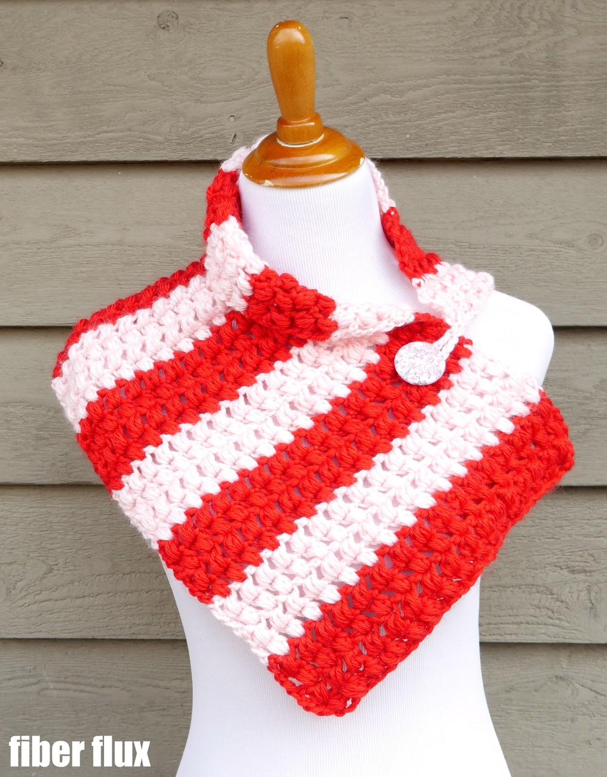 Fiber Flux: Free Crochet Pattern...Peppermint Pop Button Cowl!