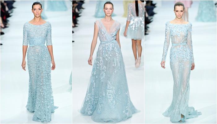 Haute Couture spring 2012 Elie Saab pastel blue long dresses
