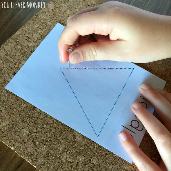 Developing Fine Motor Skills in Preschoolers - learn about 2D shapes while building fine motor strength and control. Free printable with all the basic 2D shapes ready to use | you clever monkey