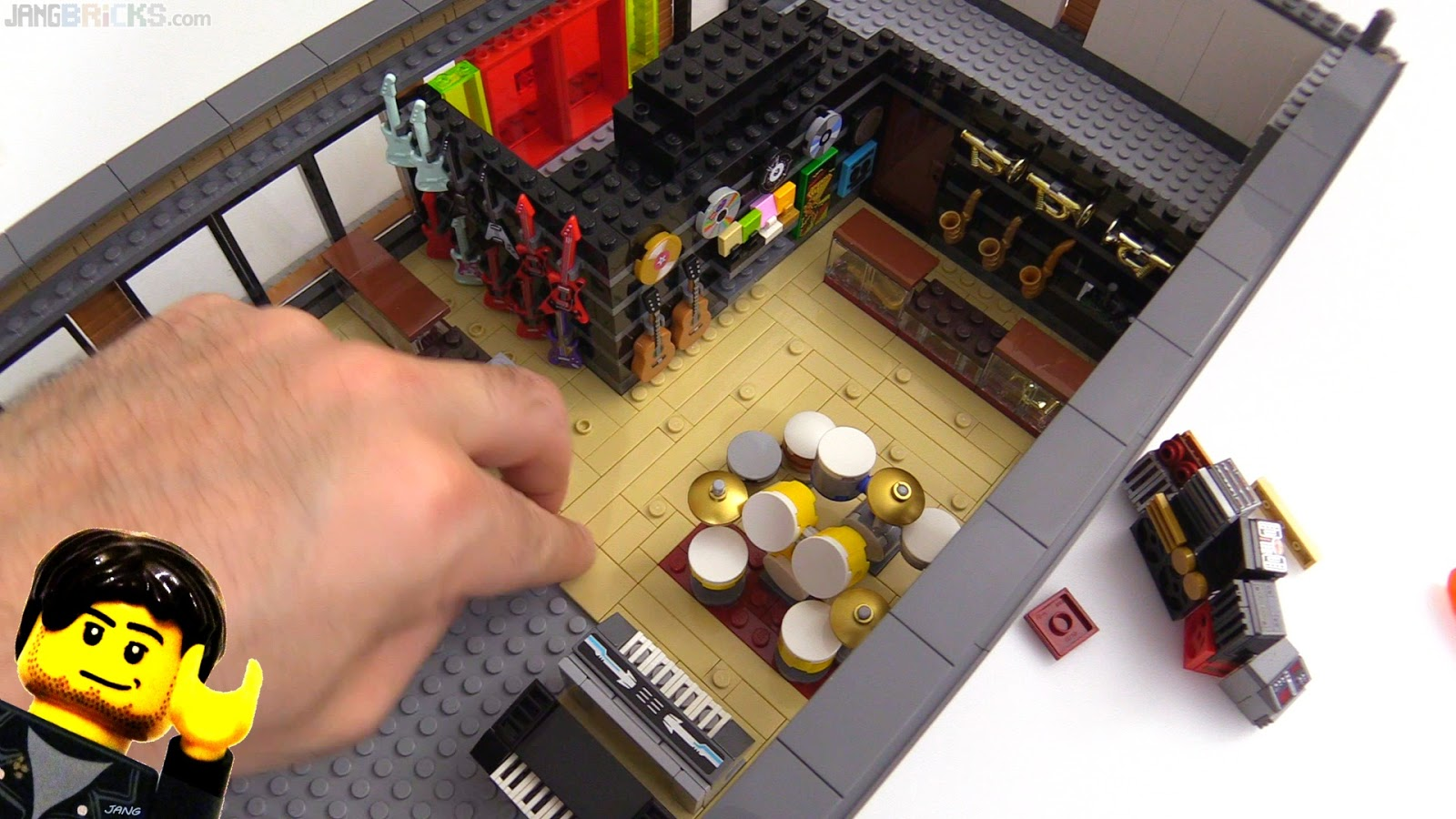 Custom LEGO music shop MOC progress continues