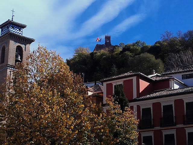 View of the Alhambra Palace in Granada from the city centre