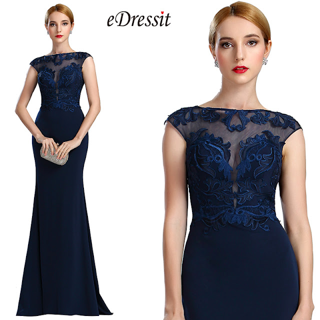 cap sleeves navy blue long formal dress