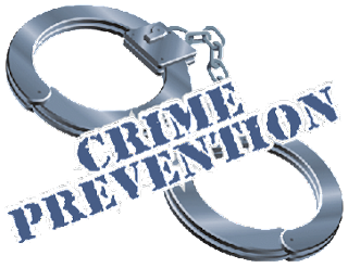 Image of handcuffs with the words Crime Prevention.
