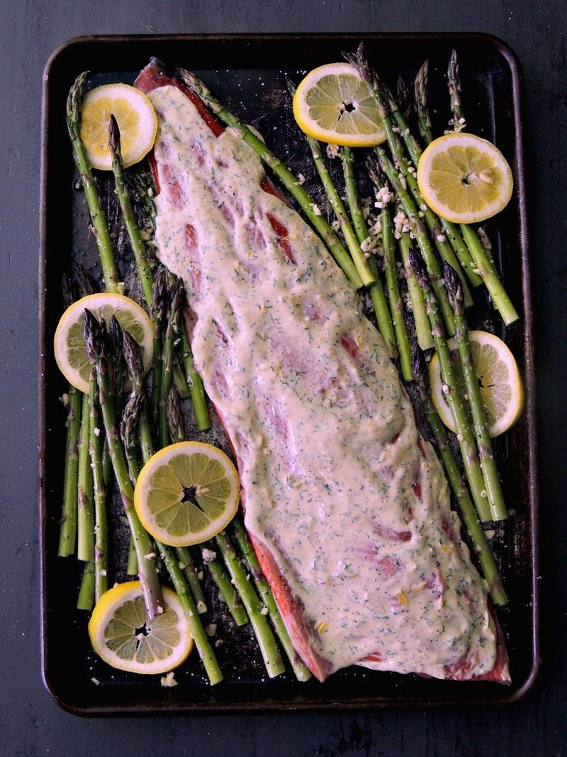 Sheet Pan Salmon and Asparagus - Forget about fuss, and mess, with this quick and easy sheet pan salmon dinner. It is a healthy and delicious meal that you will have on the table in less than 30 minutes! From www.bobbiskozykitchen.com