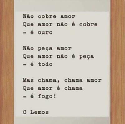 Poesia de César Lemos, encontrada na conta de