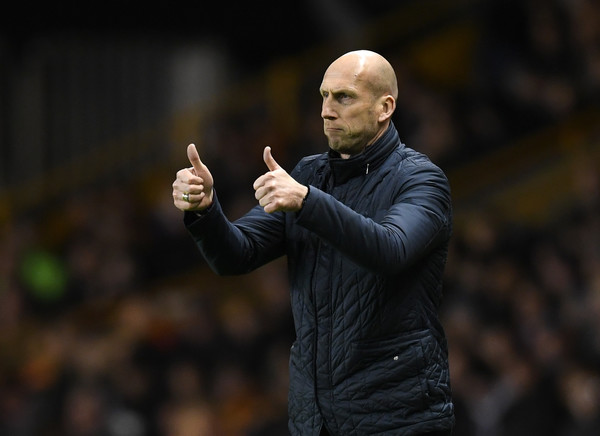 Jaap Stam of Reading gives out instructions to his players during the Sky Bet Championship match between Wolverhampton Wanderers and Reading at Molineux on March 13, 2018 in Wolverhampton, England