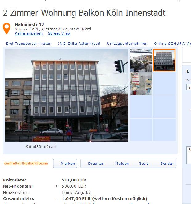 Wohnungsbetrug.blogspot.com: 2 Zimmer Wohnung Balkon Köln