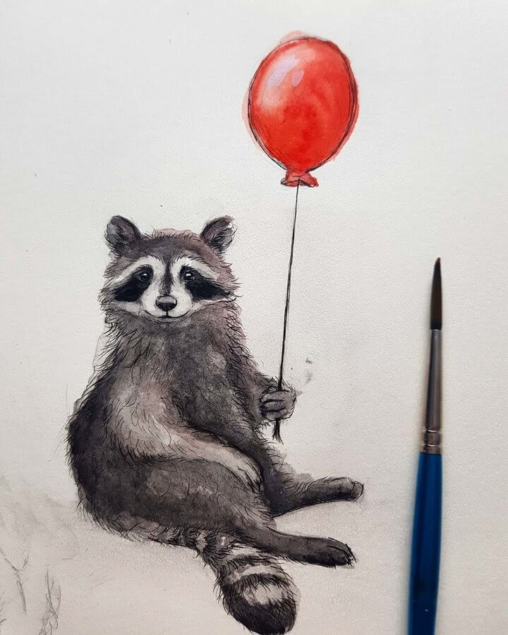 06-Bear-with-a-red-Balloon-Kleevia-Animal-Art-www-designstack-co