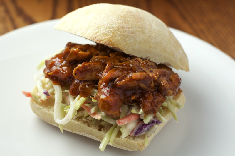 Slow Cooker BBQ Shredded Chicken Sliders || A Less Processed Life