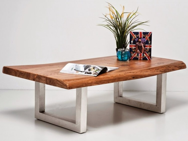 Rectangular Wood Coffee Table Made Of And Metal Nature Line