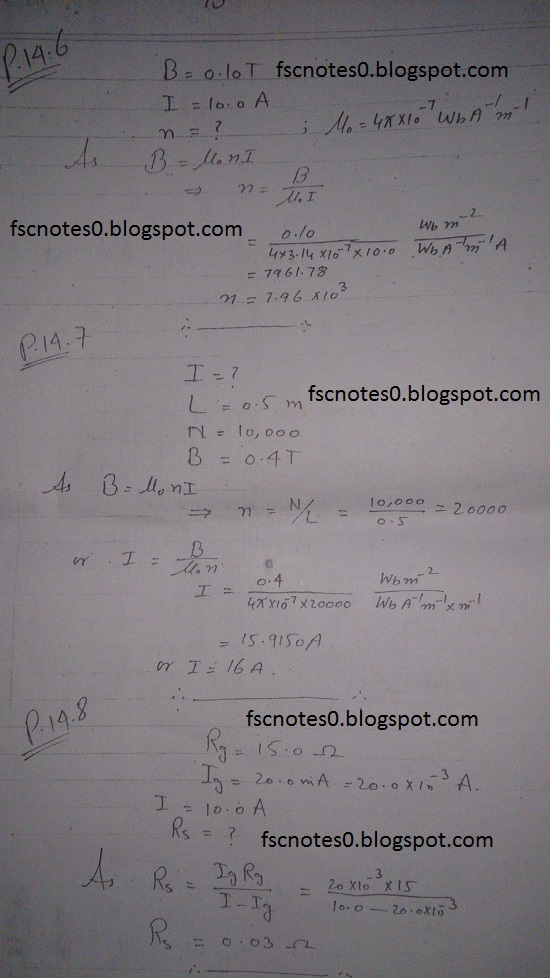 F.Sc ICS Notes: Physics XII: Chapter 14 Electromagnetism Numerical Problems Asad Hussain 2