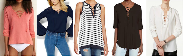 Aerie Lace Up Tee $20 (reg $40) New York & Co Lace Up Bell Sleeve Blouse $28 (reg $47) Saks Fifth Avenue Blue Lace-Up Striped Knit Top $40 (reg $79) Lush Lace-Up Tee $38 Sanctuary Lace-Up Blouse $50 (reg $79)