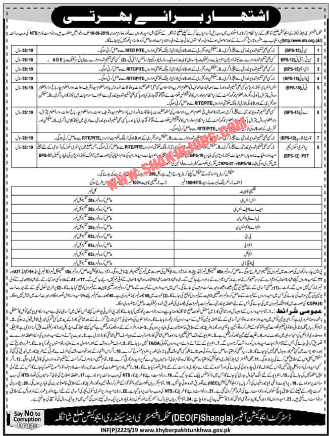 Directorate Of Elementary & Secondary Education KPK District Shangla Through NTS Jobs for Female 2019