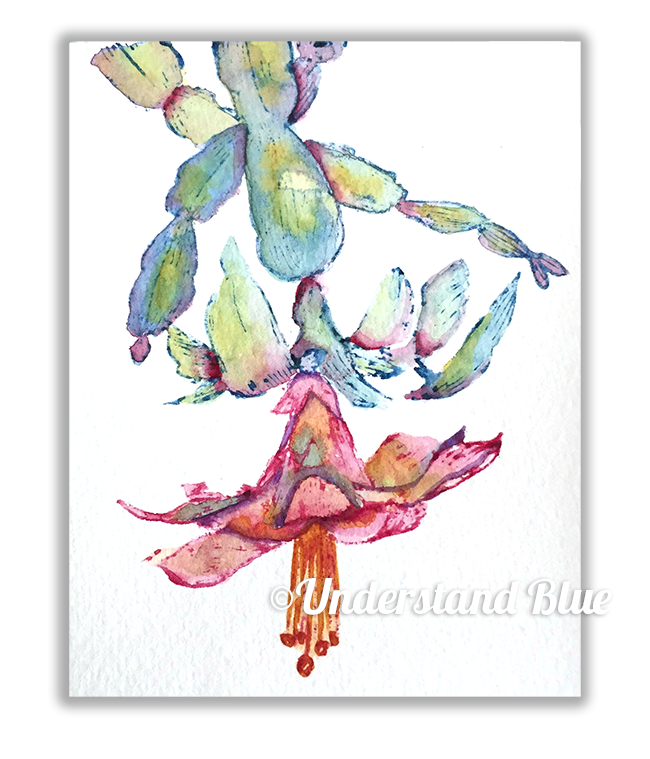 Daniel Smith Watercolor Christmas Cactus by Understand Blue