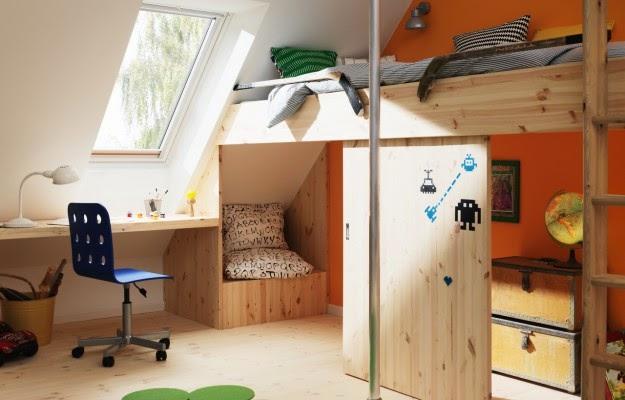 cuarto para niño abuhardillado