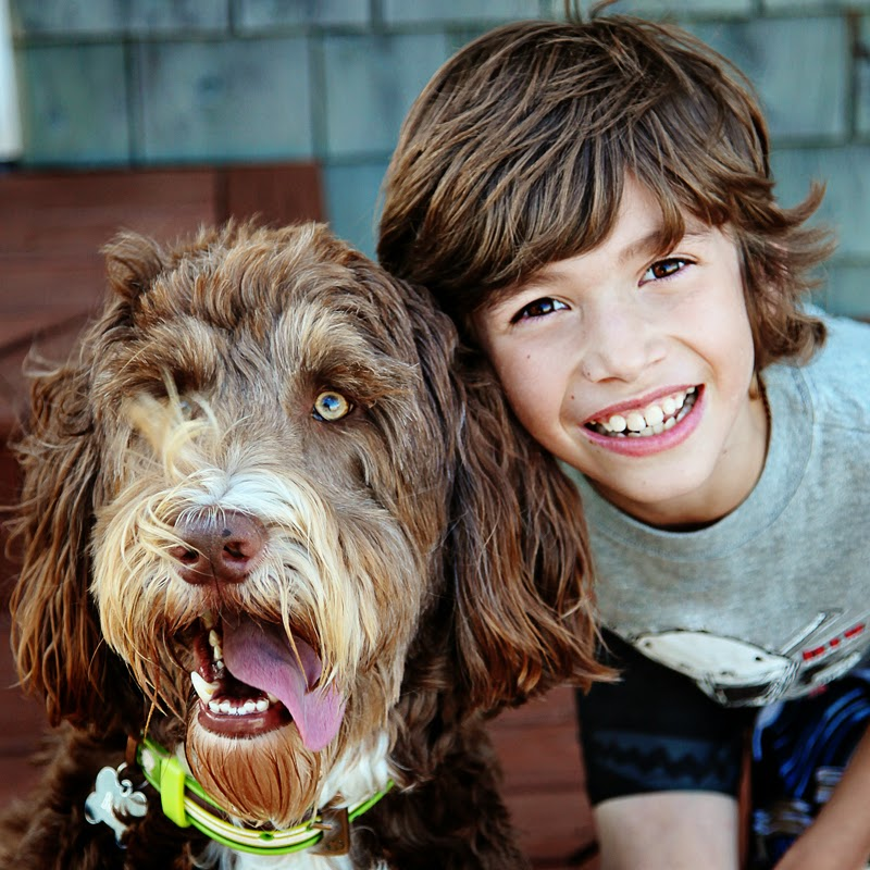 Close-up of a happy young boy with his pet dog