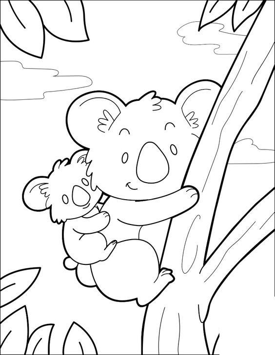 Tranh tô màu hai mẹ con gấu trúc