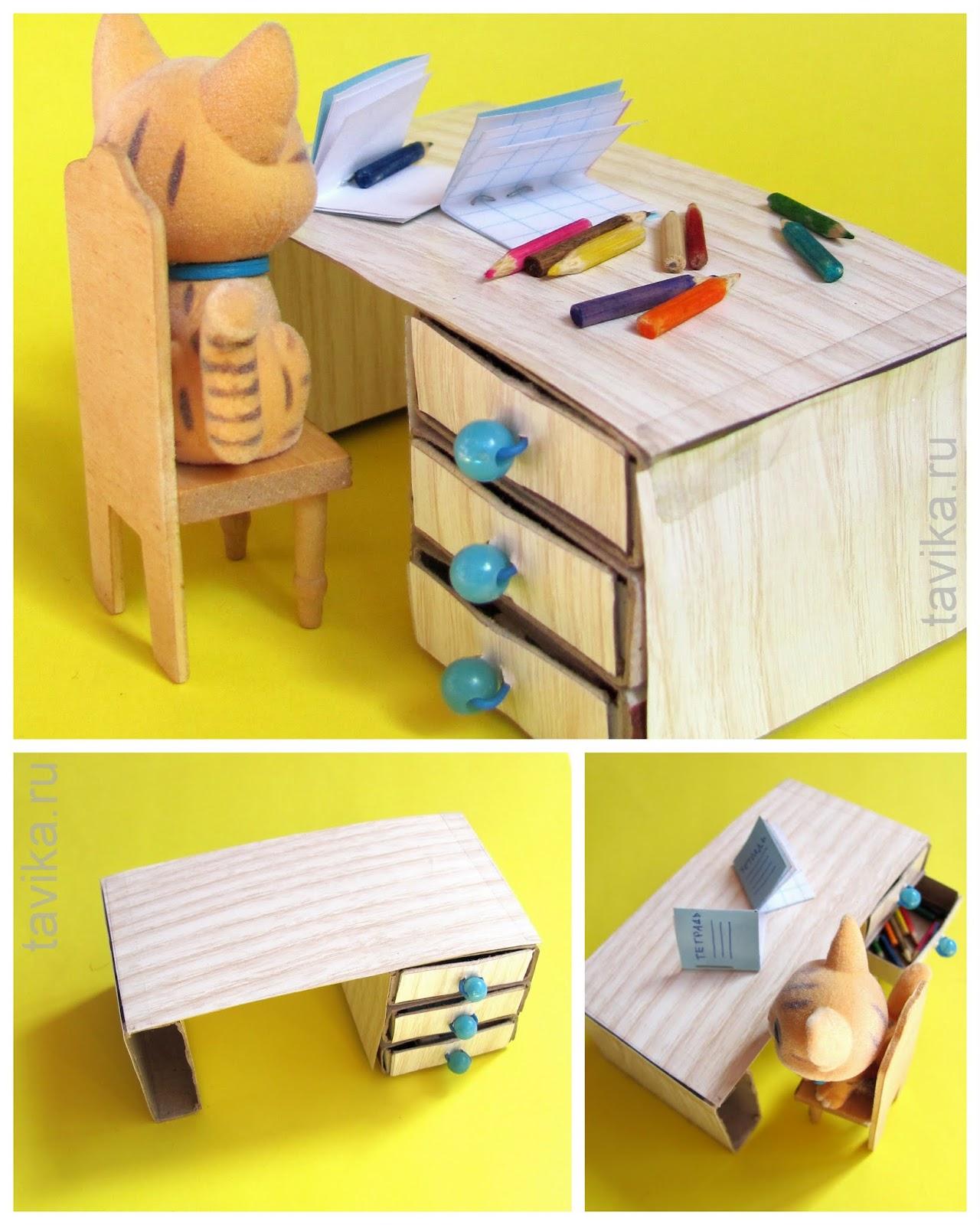 Письменный стол из спичечных коробков