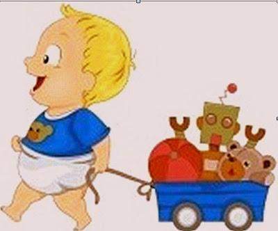 Niño y juguetes se divierten.