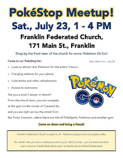 PokéStop Meetup Saturday, 1 - 4 PM at Franklin Federated!