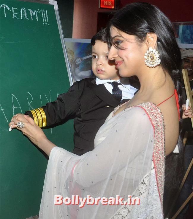 Divya Khosla Kumar backless saree with son, Yaariyan Launch Party