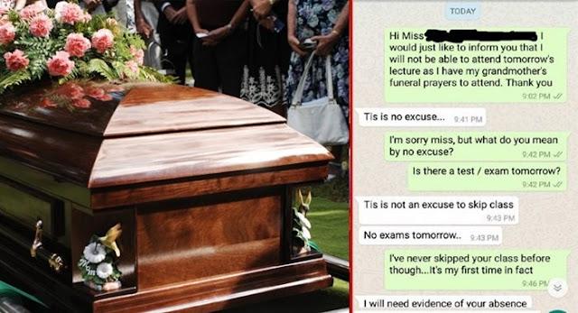 Tak Di Izinkan Hadir Ke Pemakaman Sang Nenek, Percakapan Antara Dosen Dan Mahasiswa Ini Bikin Geram Netizen