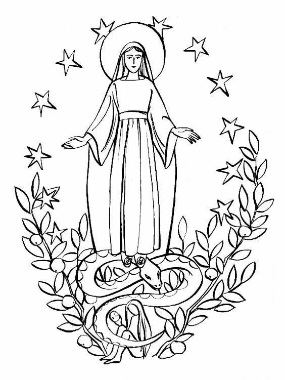 PARA COLOREAR: Imaculada Concepción para colorear
