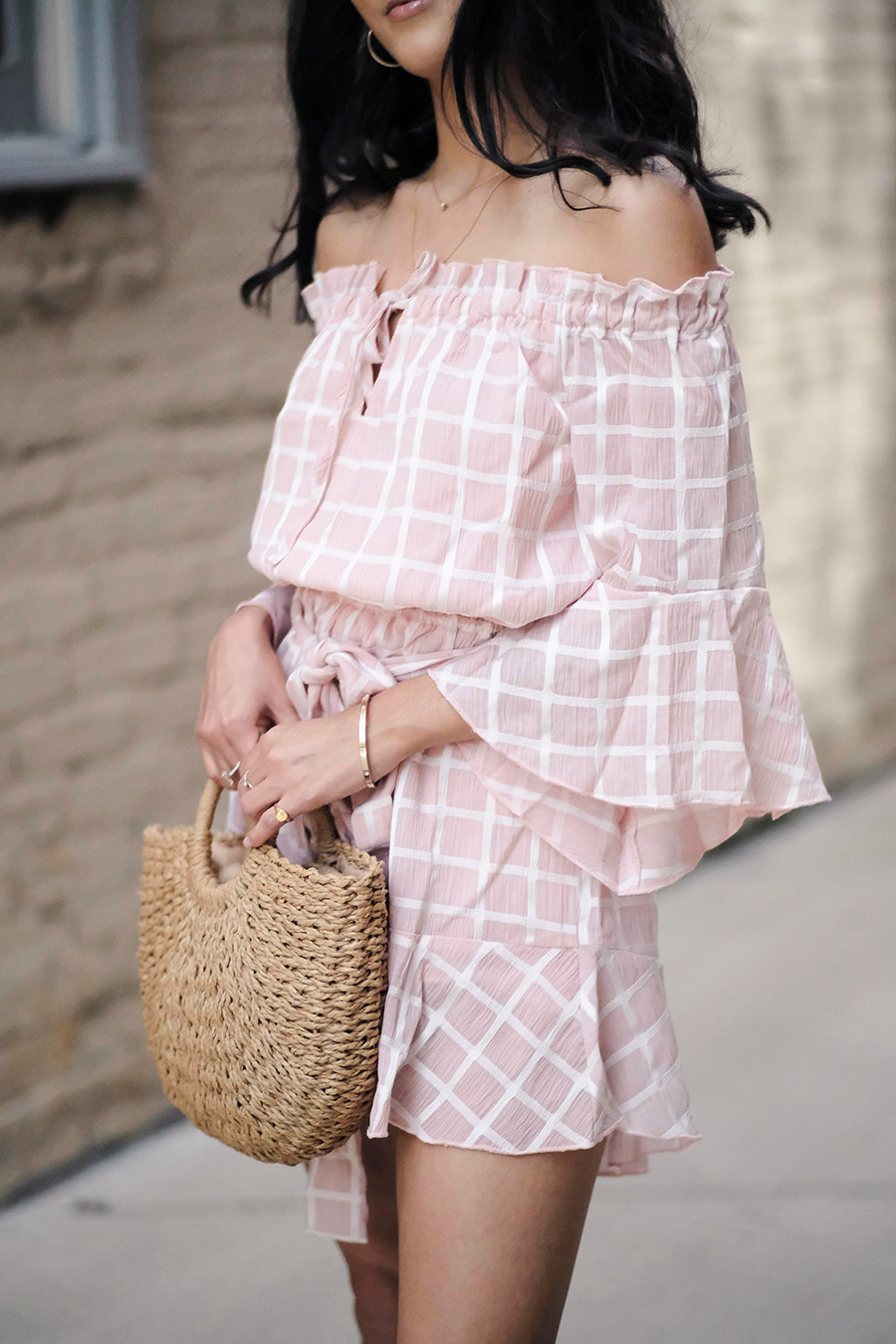 saved by the dress boutique review blush checkered romper