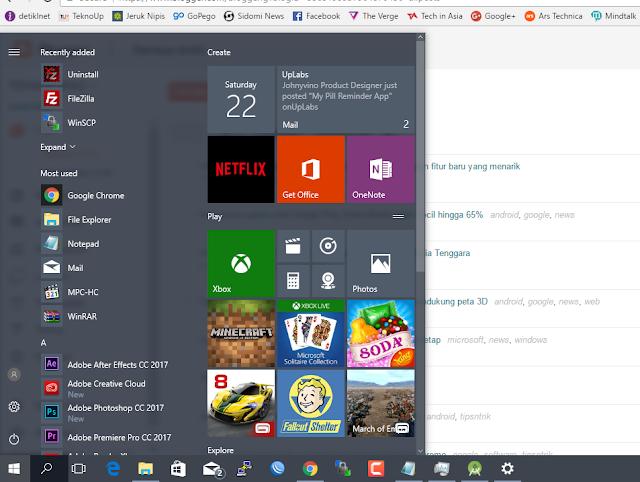Cara Membuat Start Menu satu kolom pada Windows 10 Creator