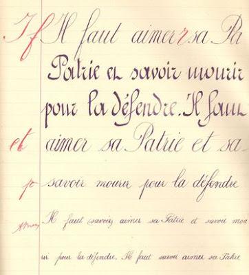 Cahier, page d'écriture,1913 (collection musée)
